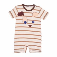 2016 Newborn Baby Summer Cotton Boy Girl Totoro Striped Rompers One piece Rompers Jumpsuits Infant Clothing