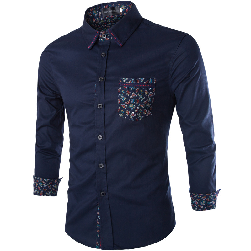 2015 hot brand men clothes solid shirt long sleeve slim for Mens dress shirts fitted