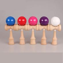 Бесплатная Доставка Размер: 18.5 см Забавный Традиционные Японские Деревянные Игрушки Kendamas Бал красочный Kendama PU Краска Профессионального