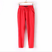 Hot Sale New 2015 Brand Casual Women Pants Solid Color Drawstring Elastic Waist Comfy Full Length Chiffon Harem Pants (China (Mainland))