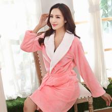 Autumn and winter women's coral fleece robe medium-long women's thickening flannel bathrobe(China (Mainland))