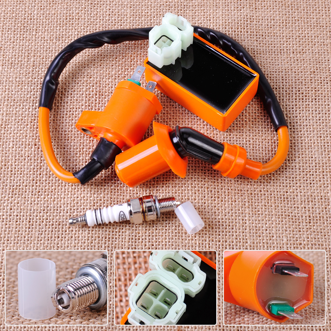 Racing Ignition Coil Orange 6 Pin CDI Box Spark Plug Fit for font b GY6 b