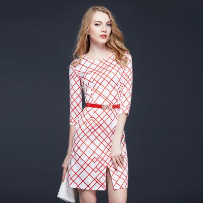 Factory Outlet New 2015 Fashion Women Elegant Plaid Runway Dresses Autumn Casual Office Work Wear Slim Split Dress Robe(China (Mainland))