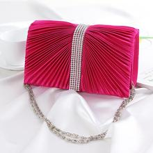 2015 For Wedding Prom Party Ribbons New Evening Bags For Ladies Ruched Crystal Diamonds Women s