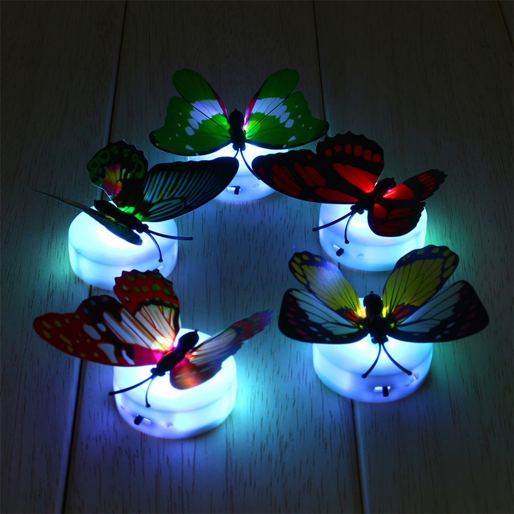 1pcs Flashing Colorful Butterfly Night Light Baby Kids Room Wall Lights Party Decor LED Night Indoor Lighting Decorations(China (Mainland))