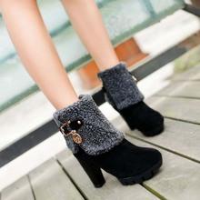 Todo Nuevo Rebaño PU Mujeres de Cuero Del Tobillo Botas de Spike de Tacón Alto Martin Botas Con Felpa Mantener Caliente Invierno Botas Zapatos de la Nieve S-54(China (Mainland))