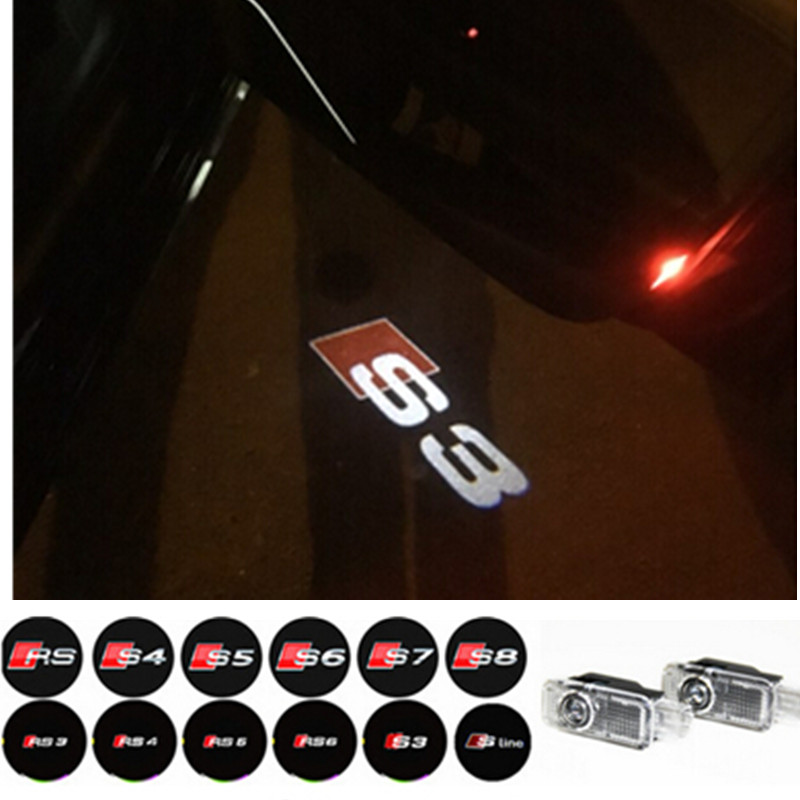 Car LED Door Logo Projector Light For AUDI S line A4 A3 A6 C5 Q7 Q5 A1 A5 80 TT A8 Q3 A7 R8 RS B6 B7 B8 S3 S4 RS5 RS6 RS3 S5 S6(China (Mainland))