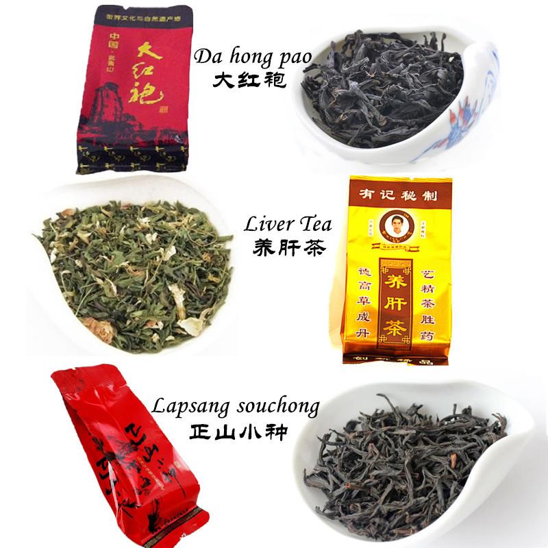Promotion 12 bags Organic Chinese Different flavors Tea Black Tea Lapsang souchong Oolong Tea Dahongpao Liver Tea +Secret Gift(China (Mainland))