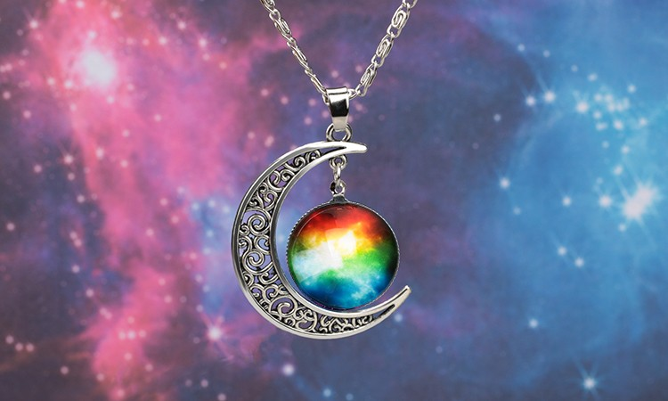 Новая мода Галактика ожерелье прекрасной галактики кабошон сплава полой Луны Кулон Серебряная цепь Ожерелье лучший подарок