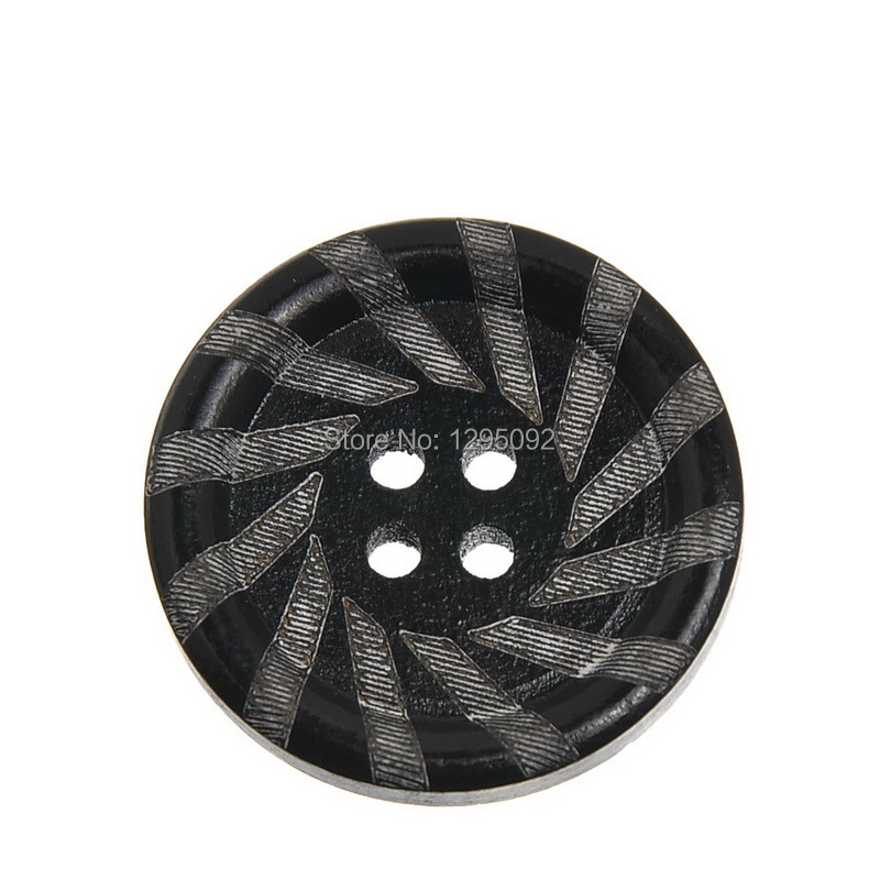 750Pcs Round 4 Holes Wood Sewing Buttons Black Pattern Wooden Crafts Clothing Scrapbooking Findings 30mm Dia.(China (Mainland))