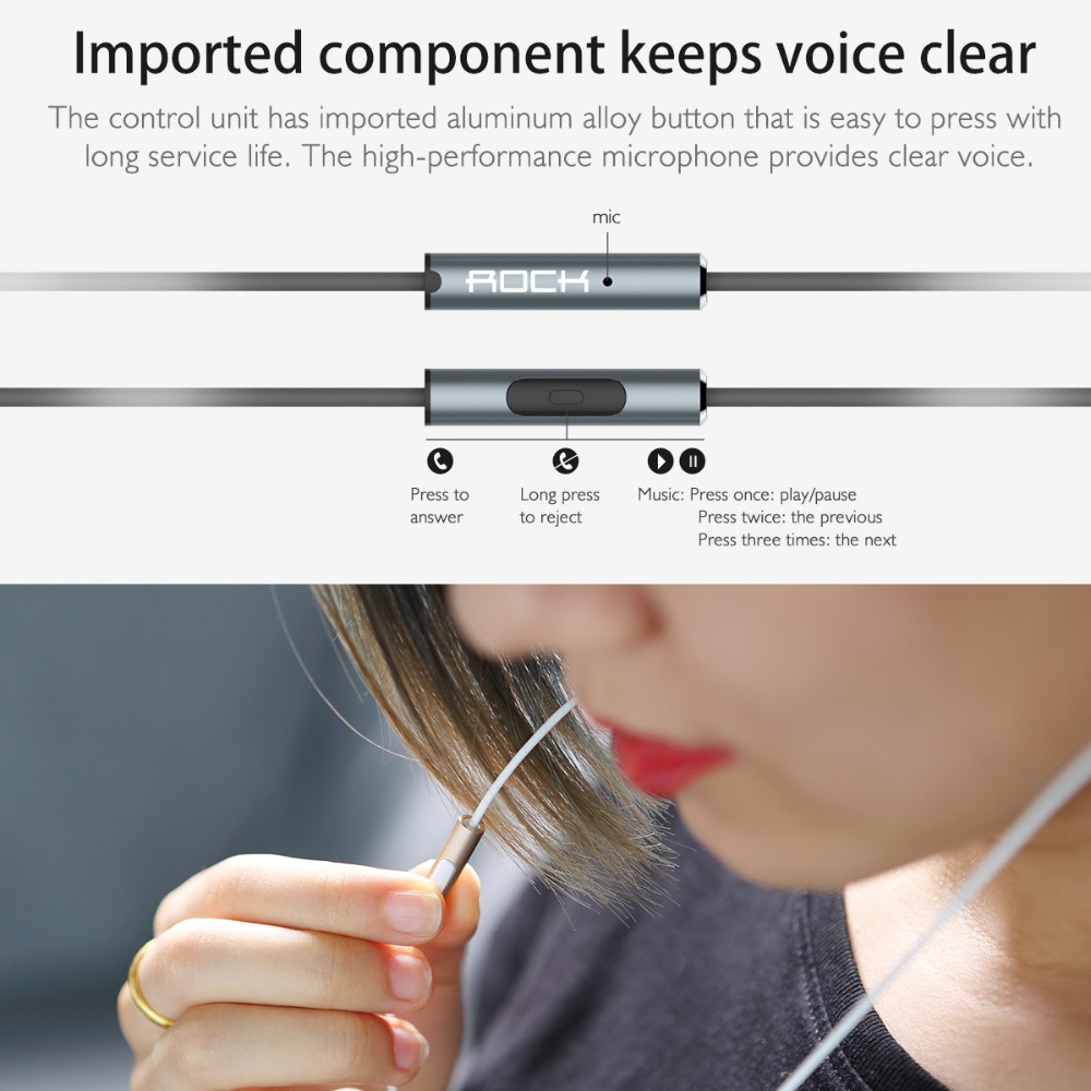 Rock Zircon stereo earphone Headset handsfree Headphones 3.5mm Earbuds for iPhone Samsung with Remote And MIC