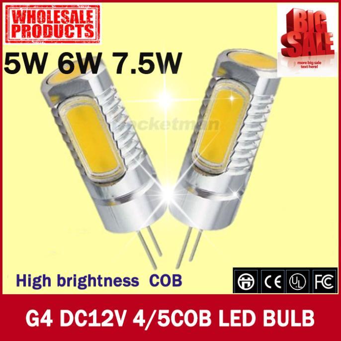 hot sale G4 led tube buls 5 leds cob lamp 5w,6w,7.5w 360 degree 12V DC AC 500LM RV navigation camping white warm white 2pcs/lot(China (Mainland))