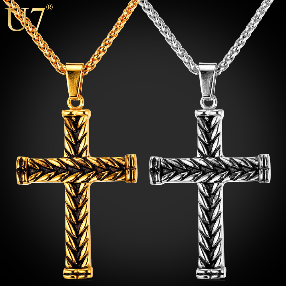 U7 Cross Necklace Women Men Christian Jewelry 2016 New Trendy Gold Plated Stainless Steel Vintage Cross Pendant & Necklace P733(China (Mainland))