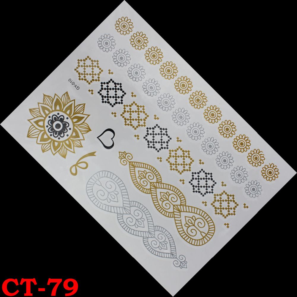 Wholesale lotus gold tattoo sex products necklace bracelets metal temporary tattoo women flash metalic fake gold silver tattoos(China (Mainland))