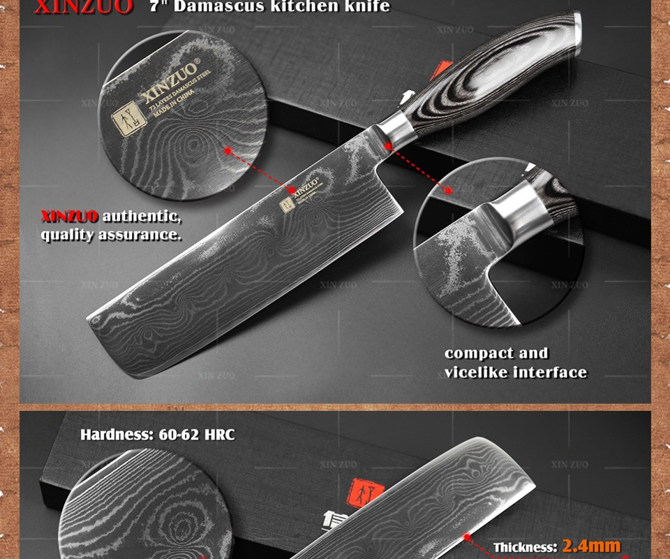 Buy XINZUO 7 inch Kitchen knife 73 Layers VG10 Damascus kitchen Knife women kitchen Cook Knives with color wood handle free shipping cheap