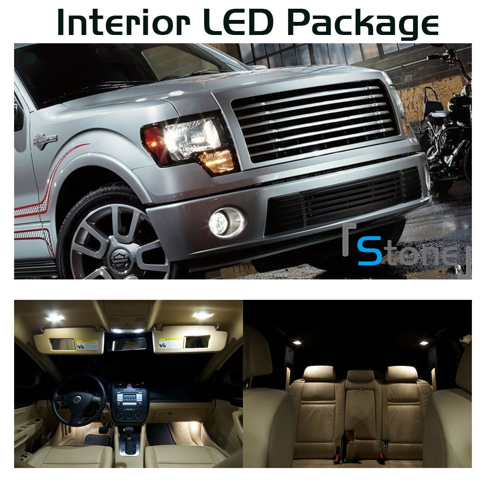 Free Shipping 11pcs Xenon White Led Interior Lights Package Kit For 2004 2012 Ford F150 4