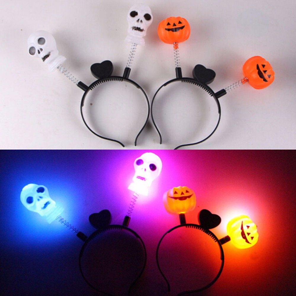 1pcs led light up hairband headband pumpkin skull flashing party xmas gift halloween decoration wholesale
