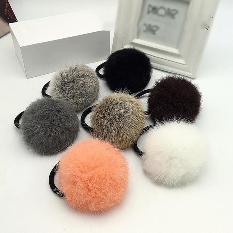 Faux Rabbit Fur Ball Elastic Hair Rope Rings Ties Bands New Fashion Pom Pom Ball Hairband Headband Hair Accessory Gifts 8AA715(China (Mainland))