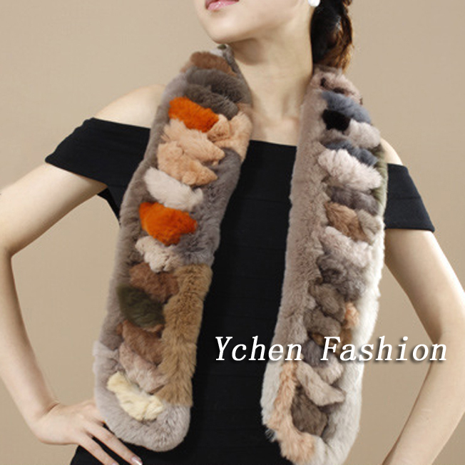 Free Shipping Hot Sale Women Winter Scarves 2014 High Quality Genuine Rabbit Fur Scarf Wrap YSC002(China (Mainland))