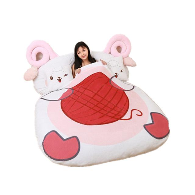 buy fancytrader giant stuffed animal sheep bed soft plush beanbag mattress sofa. Black Bedroom Furniture Sets. Home Design Ideas