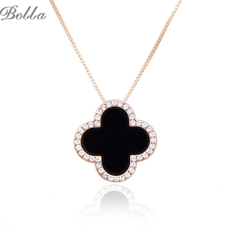 Fashion Charms Rhinestone Edging Necklace CZ Diamond 18K Gold Long Chain Clover Necklaces&Pendants Women Jewelry(X0267)(China (Mainland))