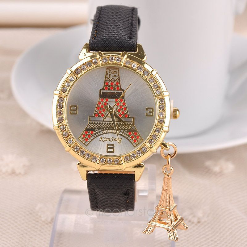 2015 Newest Paris Eiffel Tower Pattern Ladies Bracelet PU Leather Women Rhinestone Watches Women Dres Wristwatch ZS60*MPJ628#M5(China (Mainland))