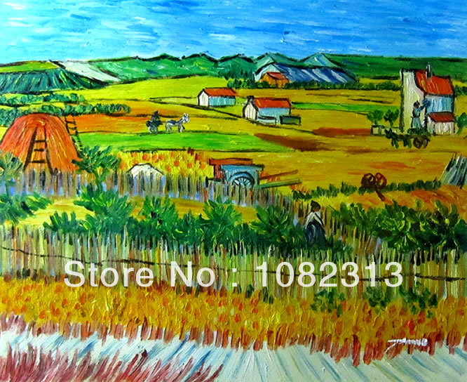 Hand-painted Signed Canvas Oil Painting Van Gogh repro Harvest 50cmx60cm Stock Abstract VM04-06(China (Mainland))