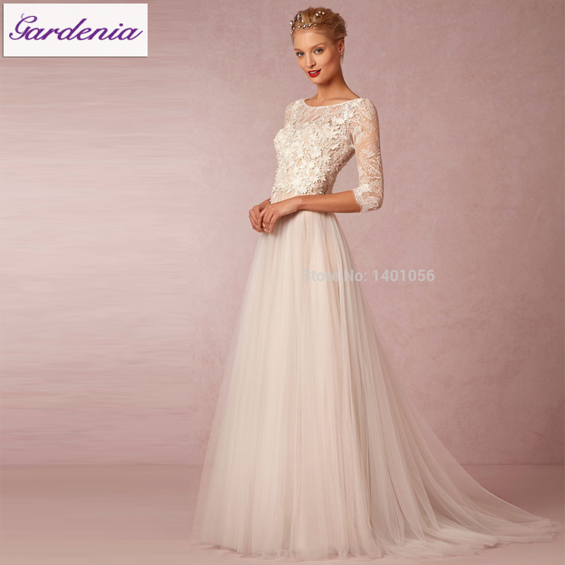Robe De Mariage 2015 Vintage Bohemian Charm Long Sleeve Beach Wedding ...