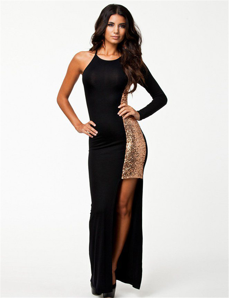 Long dresses black one sleeve plus size dress ankle length sequin