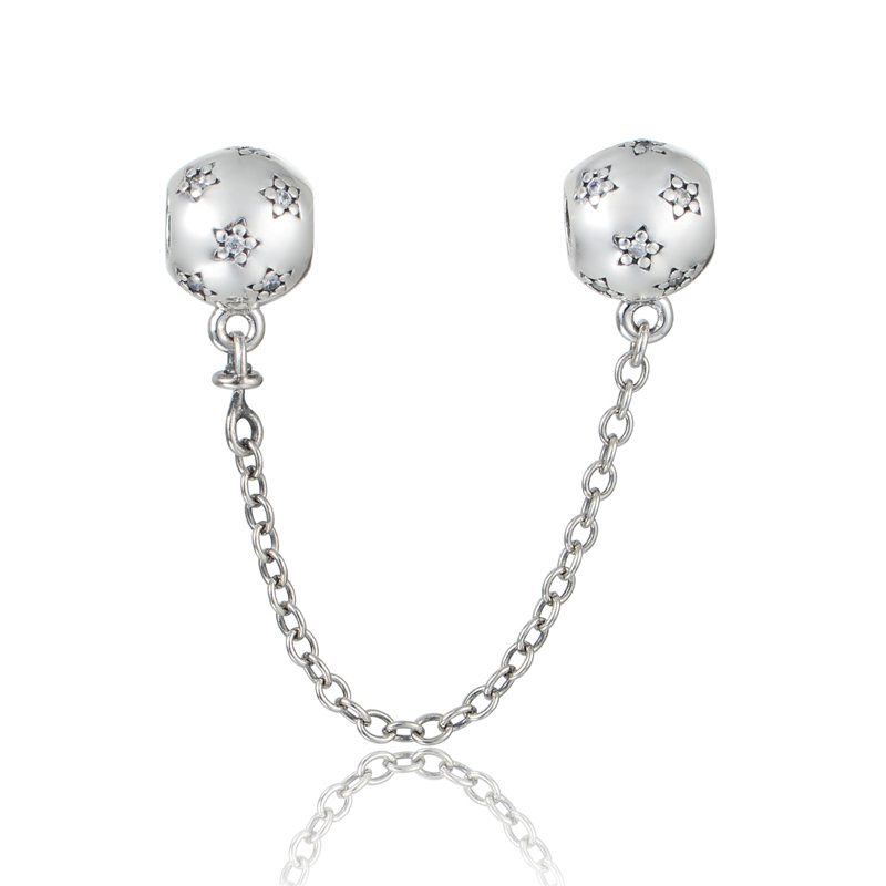 925 sterling silver jewelry star safety chain silver beads for How much does pandora jewelry pay