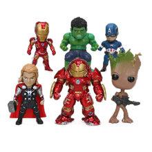 6 pçs/set Marvel Brinquedos 8-10 centímetros Vingadores Thanos Infinito Guerra Ironman Spiderman Capitão Hulk Pantera Negra Ação PVC figuras Modelo(China)