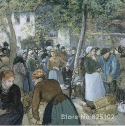 Camille Pissarro art collection,Poultry Market, Gisors,oil on Canvas,High quality,Hand-painted(China (Mainland))