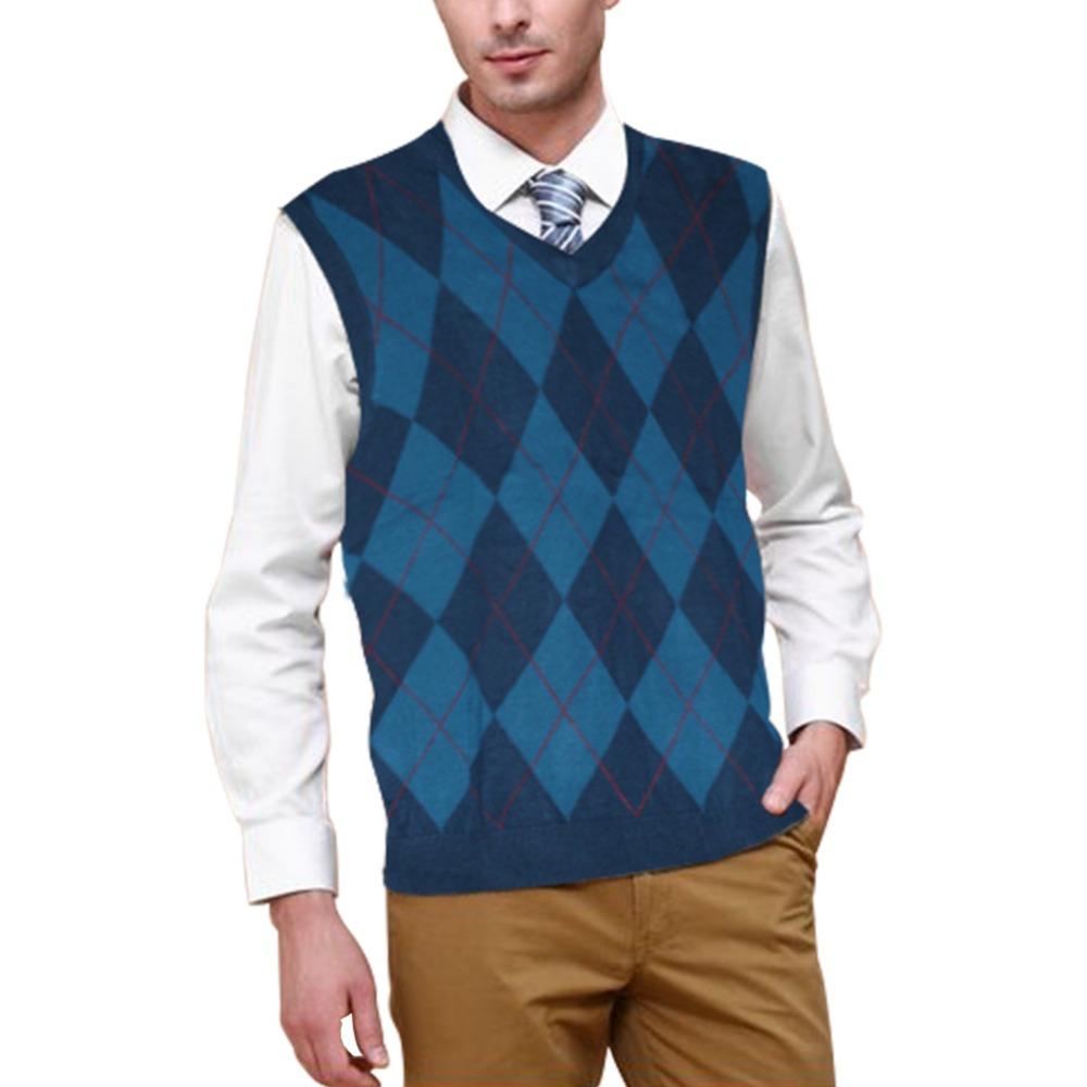 100% good quality mens sleeveless sweater vests sleeveless men sweater vest V-neck winter warm sweaters vest argyle sweater vest(China (Mainland))