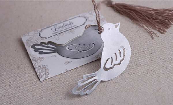 100 PCS/LOT Wedding Favors and gifts Lovebirds Bookmarks Wedding Guest Gift Giveaway Presents for Bridal Shower Free shipping(China (Mainland))