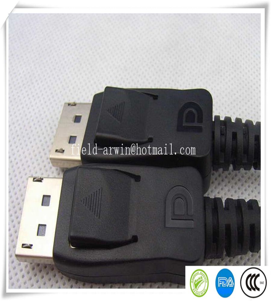 2016 free shipping hdmi vga adaptor black 50pcs/lot DisplayPort DP Male to DP Male 1.8M for DELL HP LCD Monitor Video Audio(China (Mainland))