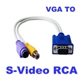 New 15 Pin Sub D VGA SVGA to RCA S Video S Video Cable Adapter Converter