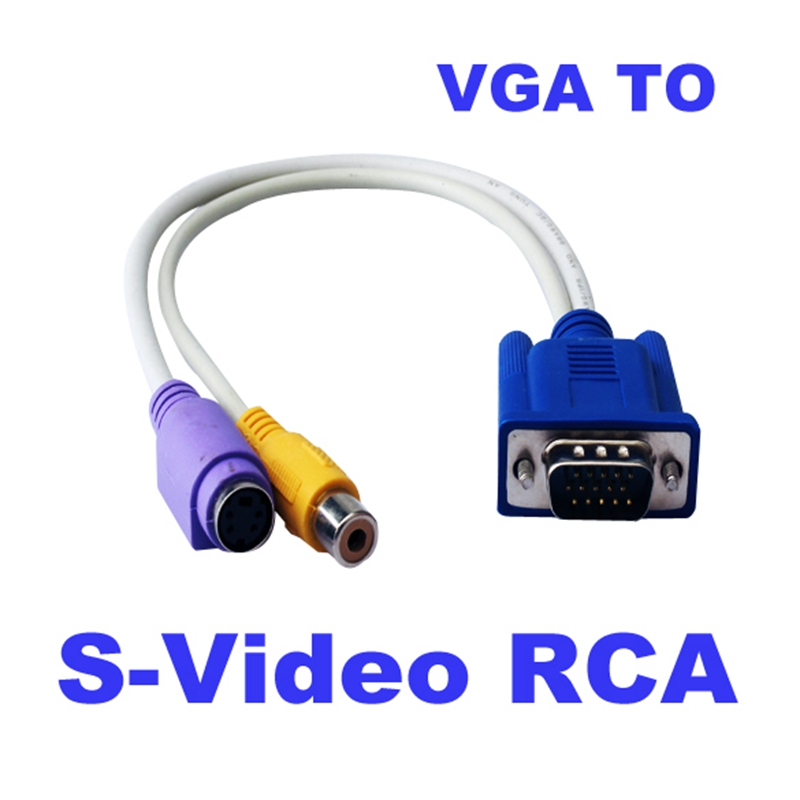 New 15 Pin Sub-D VGA SVGA to RCA S-Video S Video Cable Adapter Converter for TV Free Shipping(China (Mainland))