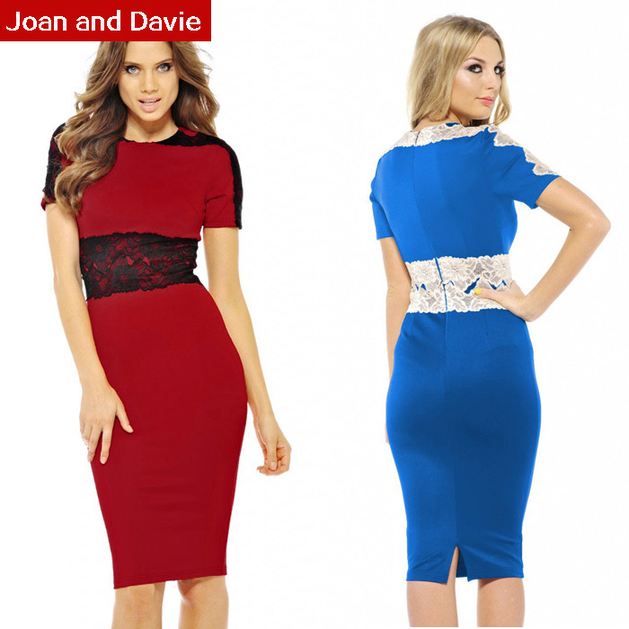 2015 Women's summer new fashion short sleeve elegant elastic slim work sheath office ladies lace midi dresses plus size - Joan and Davie store