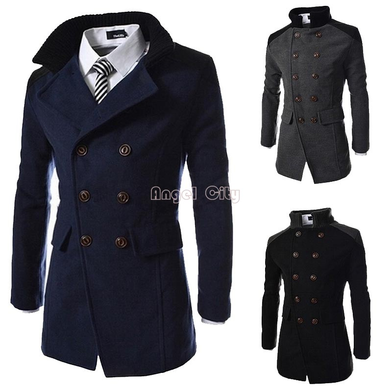 3 Colors M-XXL New High Quality Men Jackets Autumn And Winter Coat Men Warm Wool Cashmere Blend Trench Coat #12 CB034448Одежда и ак�е��уары<br><br><br>Aliexpress
