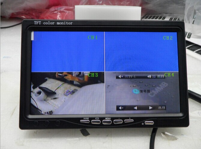 """7 Inch 4 Channel Input 4 Picture Display Color TFT For Rear View System 7"""" CCTV Monitor(China (Mainland))"""