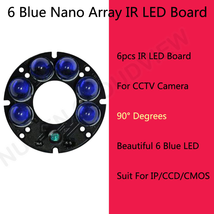 Hot Low fever Beautiful blue round Nano array IR LED Board Far Infrared 90 degree for CCTV Camera System 6pcs Leds board(China (Mainland))