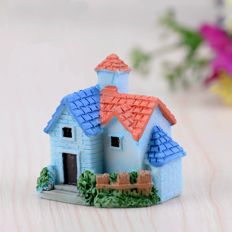 Miniature european country villa house housing micro for Art and craft decoration