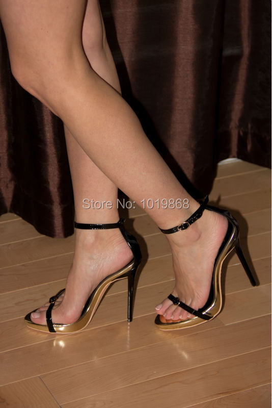 Buyer Show Sexy Women Sandals Black Buckle High Heels Girls Party Shoes Free Shipping(China (Mainland))
