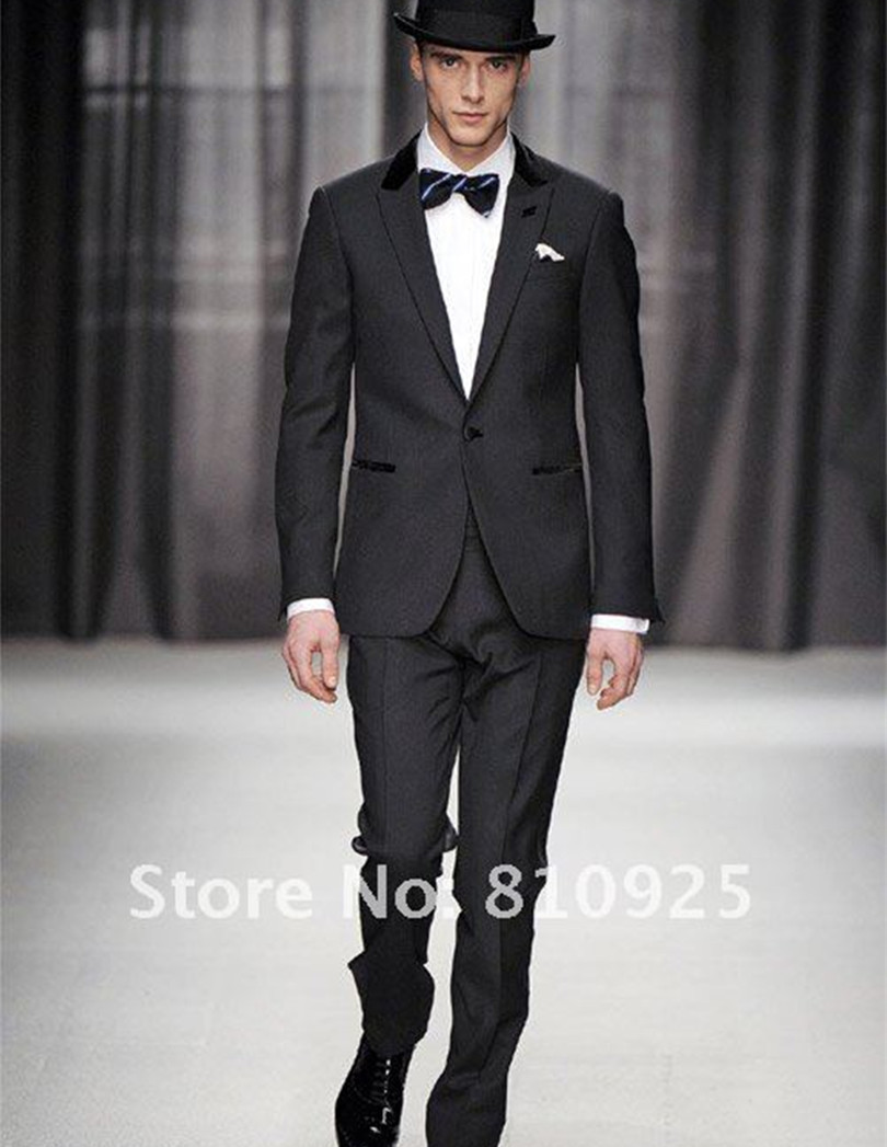 dinner suits 2016 popular custom made suit wedding tuxedo sim fit groom wear black free shipping(China (Mainland))