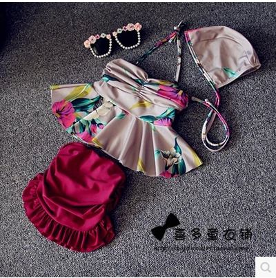 Retail 2015 Summer Latest Retro Hit The Child Bikini Swimwear 3pcs Set Children Girls Swimsuits Kids Bathing Suit 1-7years<br><br>Aliexpress
