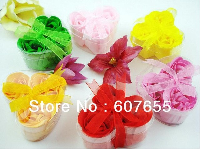 Free shipping washing cleaning bath rose Flower paper petals soap gift wedding favor mulit color
