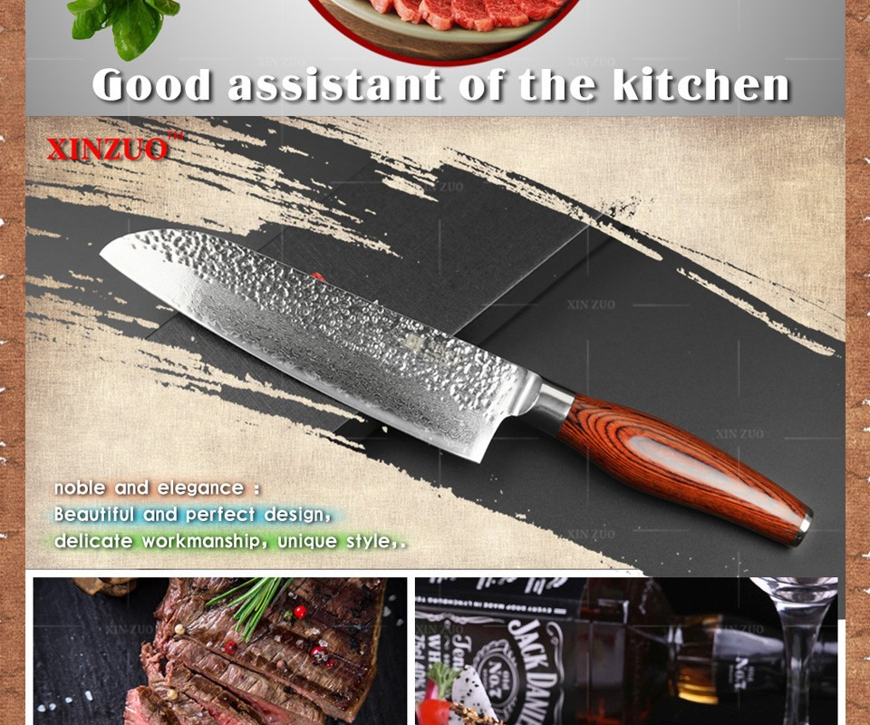 "Buy 2016 New 7"" inch santoku knife Japan Damascus steel kitchen knife japanese chef knife with Color wood handle free shipping cheap"