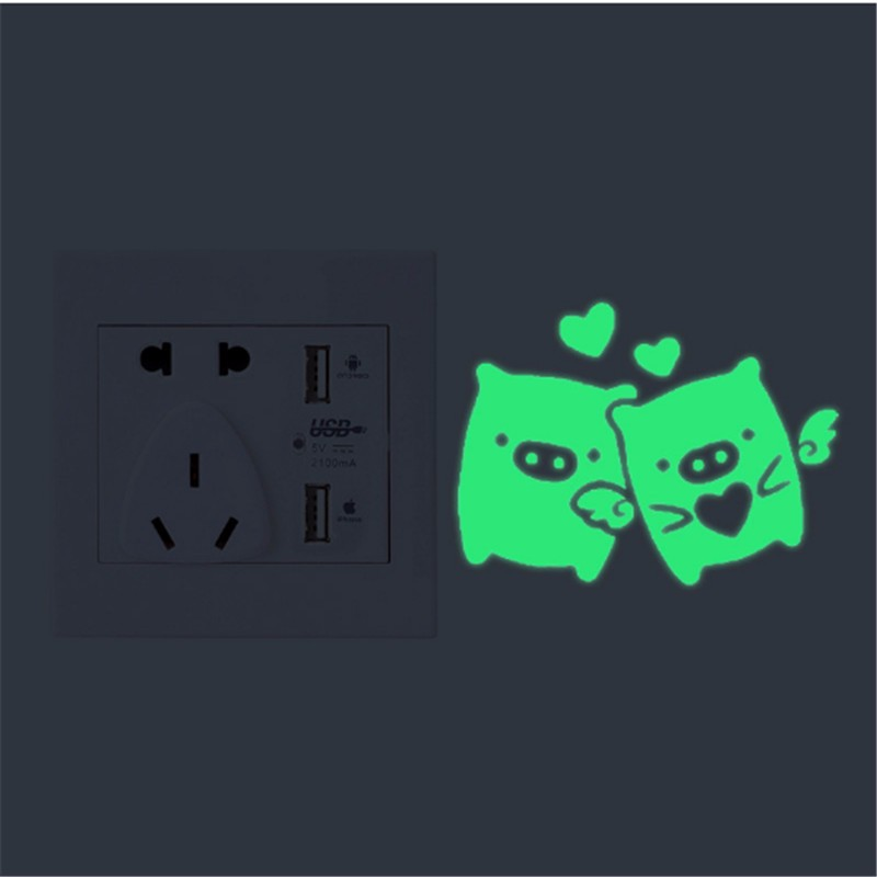 Wall Stickers Fall in Love Happy Pig Luminous Switch Stickers Super Bright in the Dark Fluorescent Living Room Home Decor