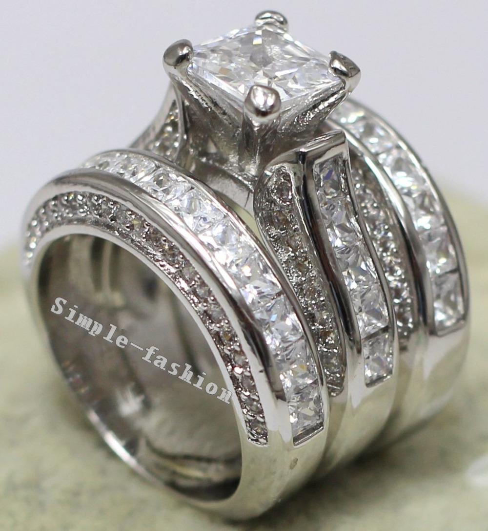 Vecalon Women Fashion Jewelry Full princess cut 15ct Cz diamond Engagement Wedding Band Ring Set 14KT White Gold Filled ring(China (Mainland))