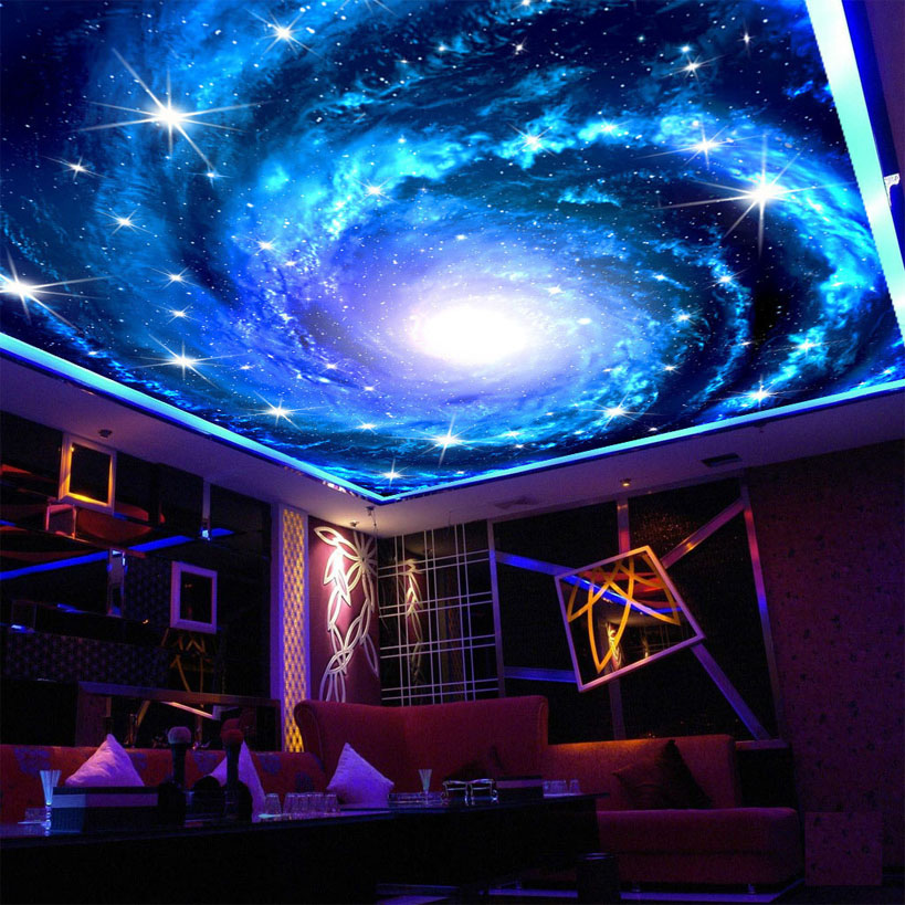Custom 3d photo wallpaper galaxy star ceiling fresco wall for Ceiling mural in smokers lounge